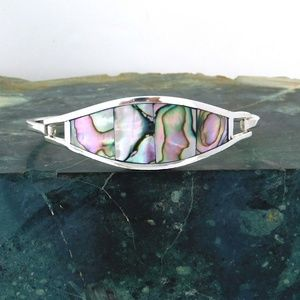 Mexican Bracelet Abalone Shell Alpaca Silver i42